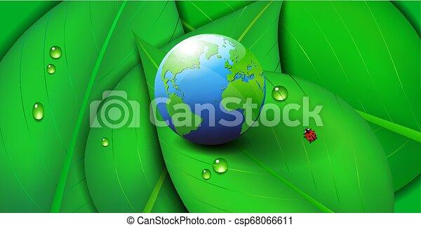 Green Earth World Icon Symbol Ecology leaf Background - csp68066611