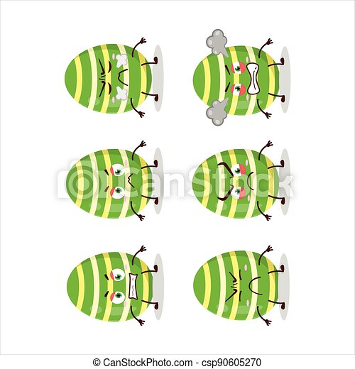 Green easter egg cartoon character with various angry expressions - csp90605270