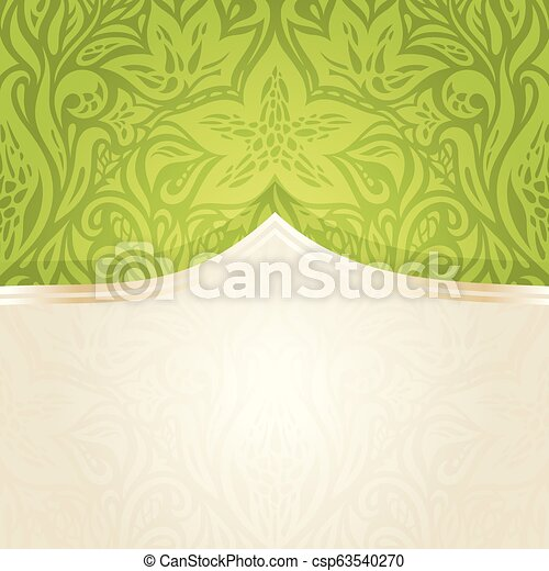Green Easter floral vintage wallpaper - csp63540270