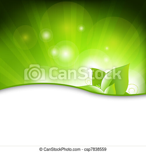 Green Eco Background With Leafs - csp7838559