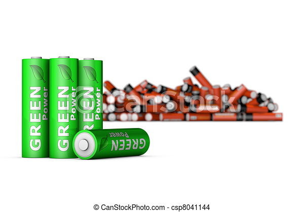 Green Eco Batteries in Front - csp8041144