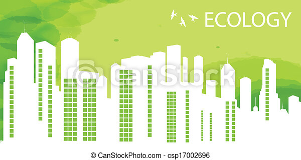 Green Eco city ecology vector background - csp17002696