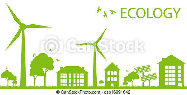 Green Eco city ecology vector background concept - csp16991642