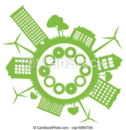 Green Eco city ecology vector background concept - csp16993184