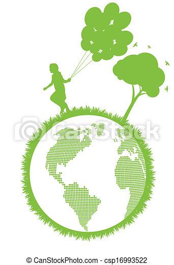 Green Eco city ecology vector background concept - csp16993522