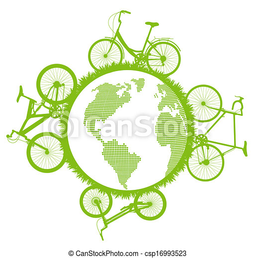 Green Eco city ecology vector background concept - csp16993523
