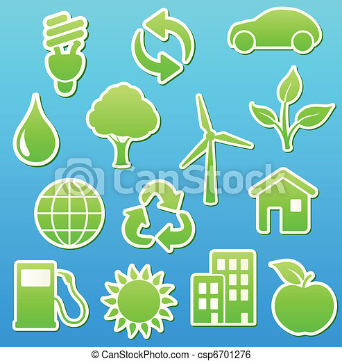green eco icon set - csp6701276
