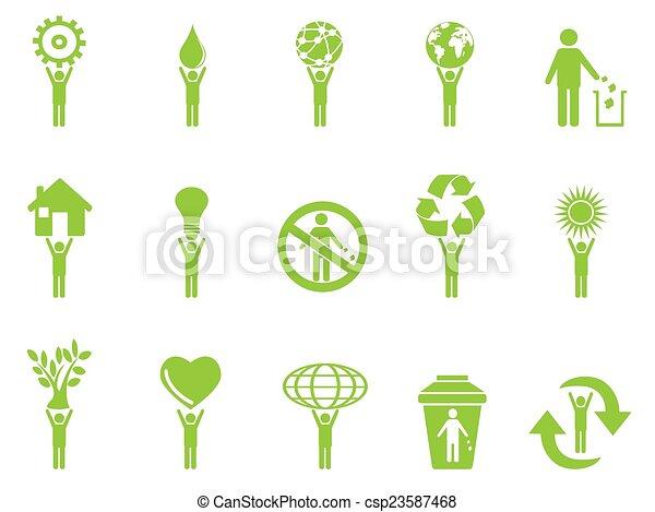 green eco icons stick figures - csp23587468