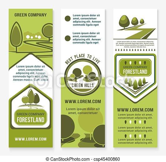 Green eco landscape design company vector banners - csp45400860