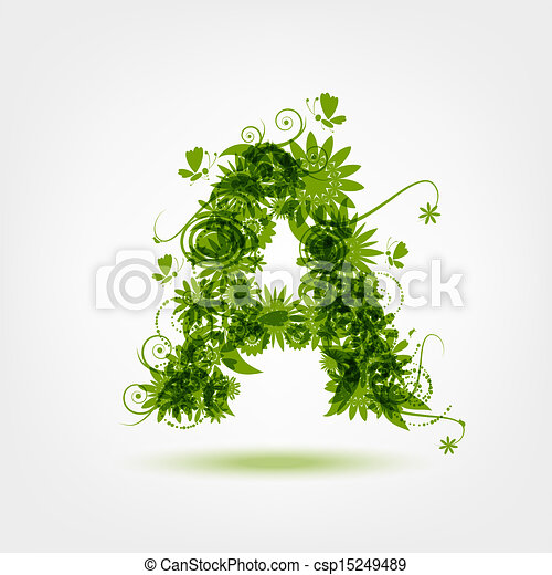 Green eco letter A for your design - csp15249489