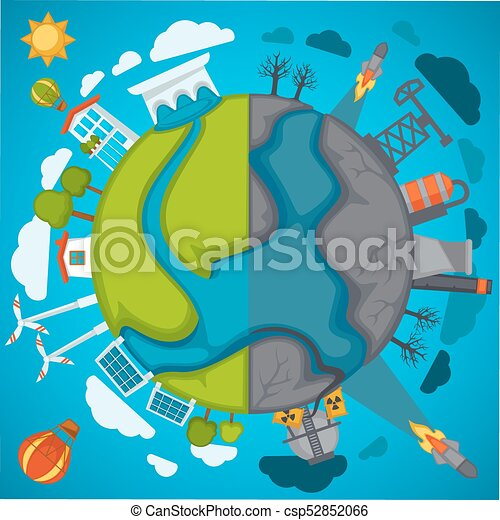 Green Eco Planet And Environment Pollution Vector Poster