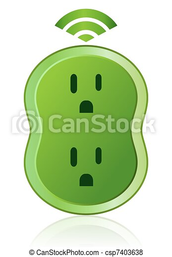 Green Eco Smart Power Outlet Icon - csp7403638