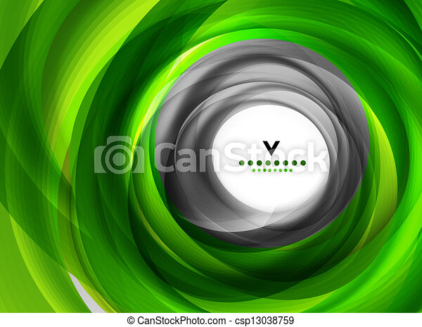 Green eco swirl abstract design template - csp13038759
