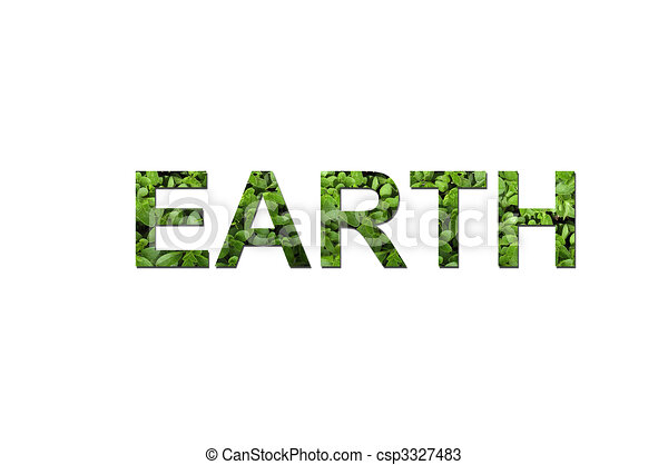 Line Art Earth : Green ecological earth the word is written composing