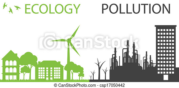 Green ecology city against pollution vector background - csp17050442