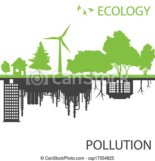 Green ecology city against pollution vector background - csp17054825