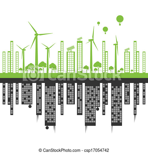 Green ecology city landscape against pollution vector background concept - csp17054742