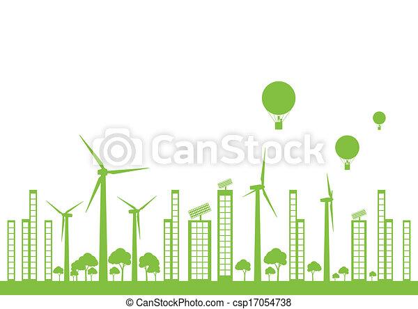 Green ecology city landscape vector background - csp17054738
