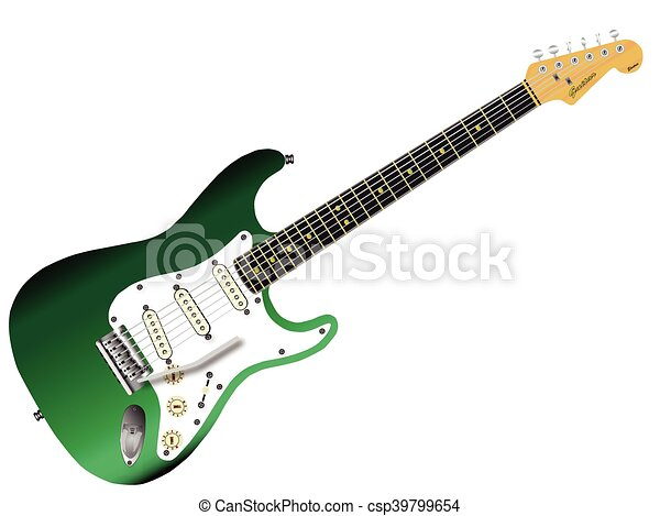 green electric guitar a traditional solid body electric guitar in green isolated over white. Black Bedroom Furniture Sets. Home Design Ideas