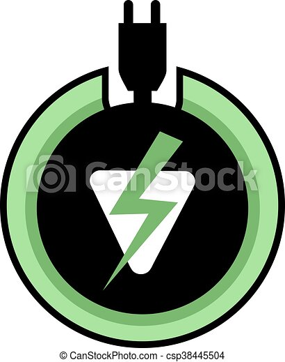 Green Electric Power Icon Vector