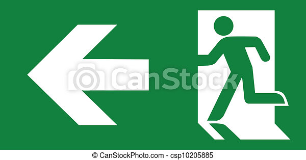 Green emergency exit sign - csp10205885