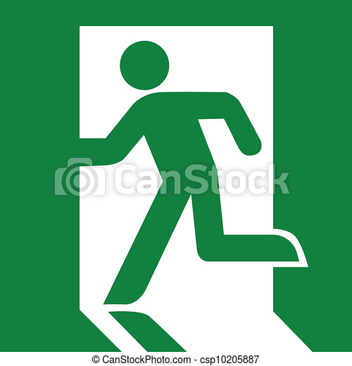 Green emergency exit sign - csp10205887