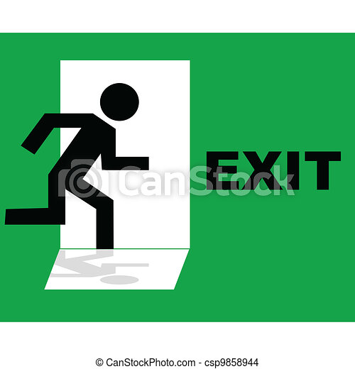 Green emergency exit sign icon - csp9858944