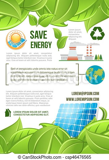 Green Energy And Nature Ecology Vector Poster Save Energy