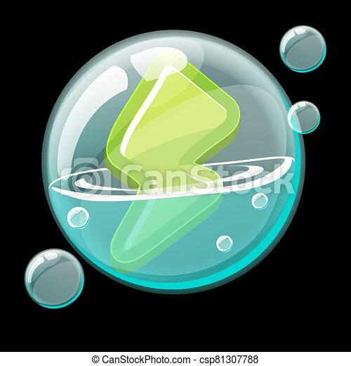 Green energy icon in a soap bubble. - csp81307788