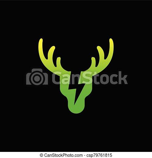 Green energy logo, Deer logo design - csp79761815