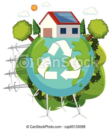 Green energy recycle logo - csp65133098