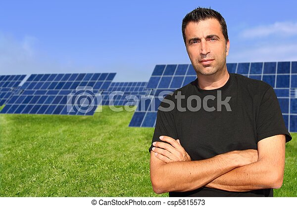 Green energy solar plates man portrait ecology - csp5815573
