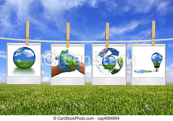Green Energy Solution Images Hanging on a Rope - csp4584904