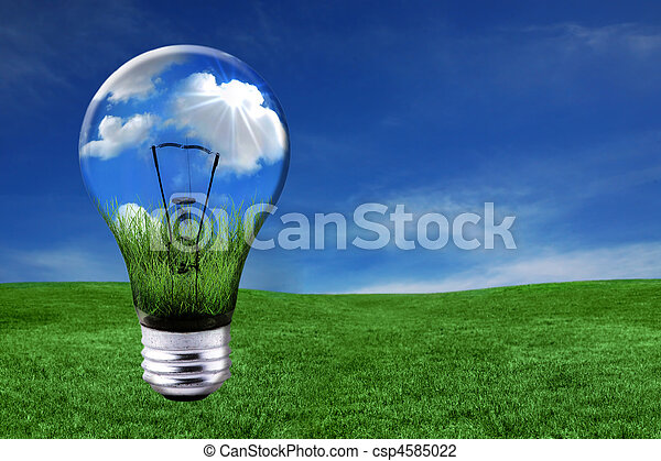 Green Energy Solutions With Light Bulb Morphed Into Landscape - csp4585022