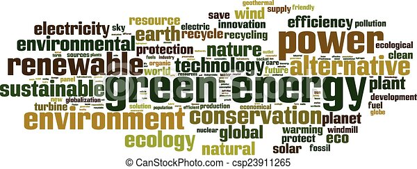 Green energy word cloud - csp23911265