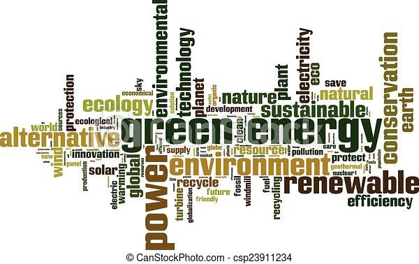 Green energy word cloud - csp23911234