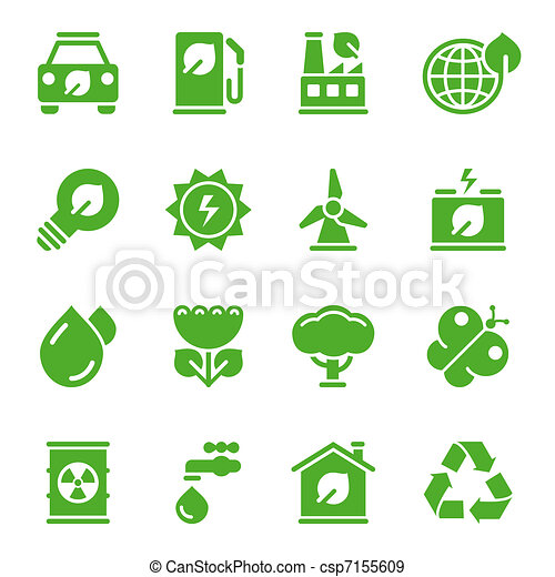 Green environmental icons - csp7155609