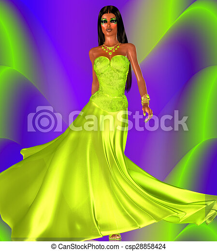 Green evening gown colorful  - csp28858424