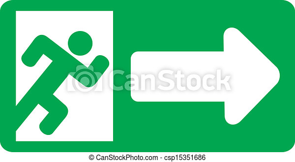 green exit emergency sign - csp15351686