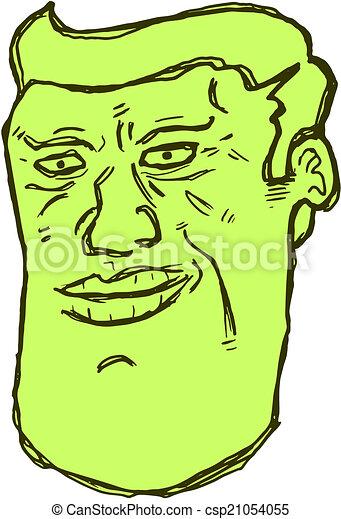 Green face man - csp21054055