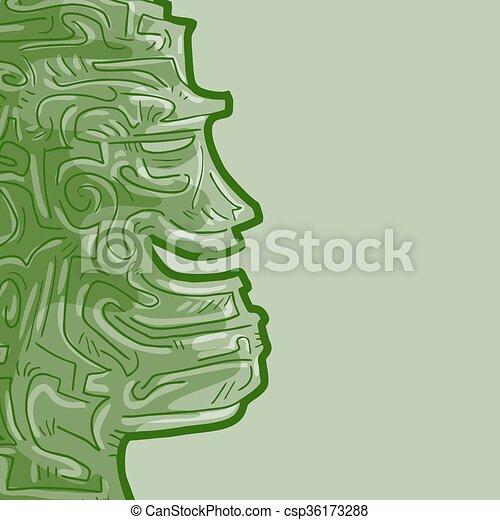 Green face talisman - csp36173288