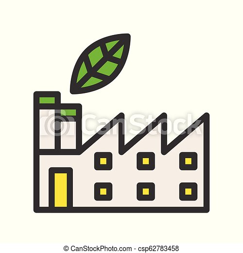 Green factory, filled Flat icon of clean energy and save environmental concept - csp62783458