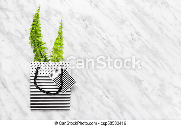 Green fern in a striped gift bag on marble background - csp58580416