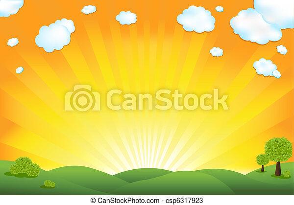 Green Field And Sunrise Sky - csp6317923