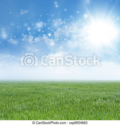 Green field, blue sky, white clouds - csp9554663