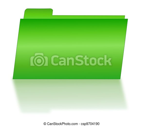 Green File Folder with Shadow - csp9704190