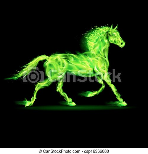 green fire horse illustration of green fire horse on