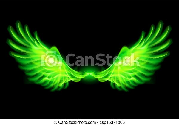 Green fire wings. - csp16371866