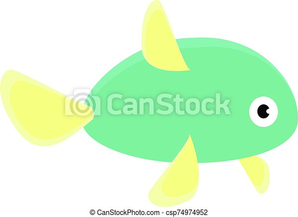 Green fish, illustration, vector on white background. - csp74974952