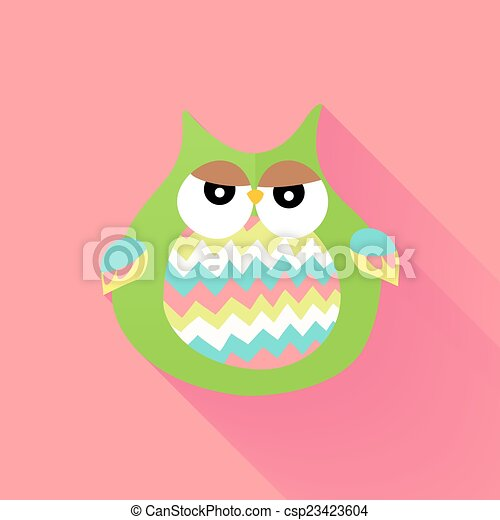 Green flat owl over pink - csp23423604